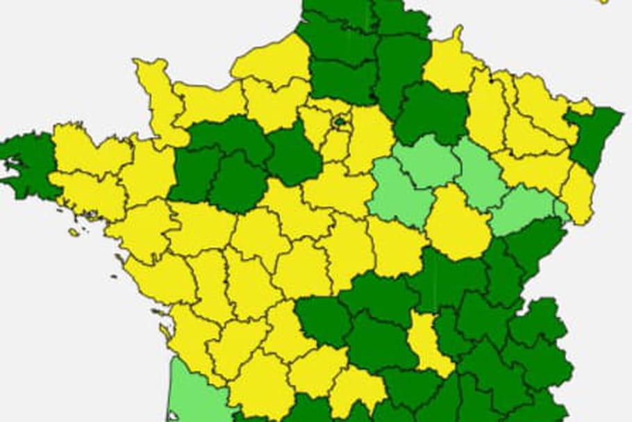 Carte des pollens2020: graminées en baisse, ambroisie en hausse
