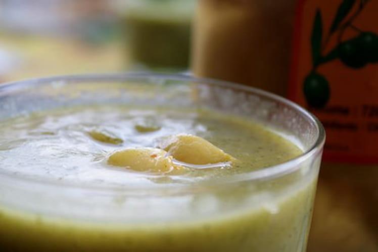 Velouté de courgettes au safran et citrons confits