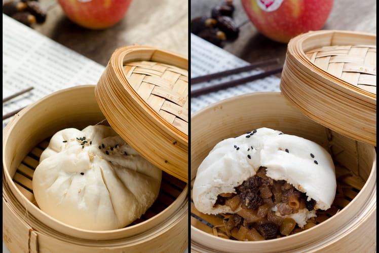Banh Bao au canard, pommes et morilles