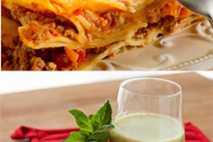 Soupe froide de concombre & menthe et lasagnes