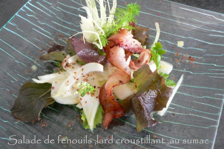 Salade de fenouil, lard croustillant au sumac