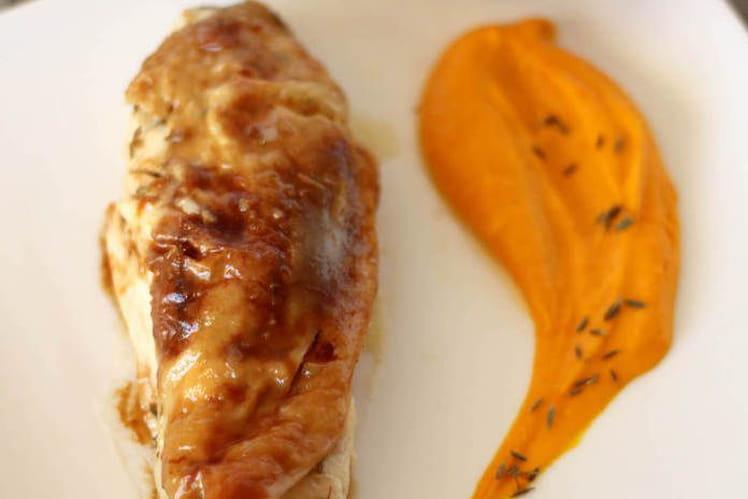 Poulet rôti au beurre pommade, citron et cumin et sa purée de potimarron