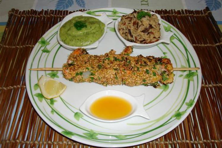 Brochette d'églefin et crevettes panée