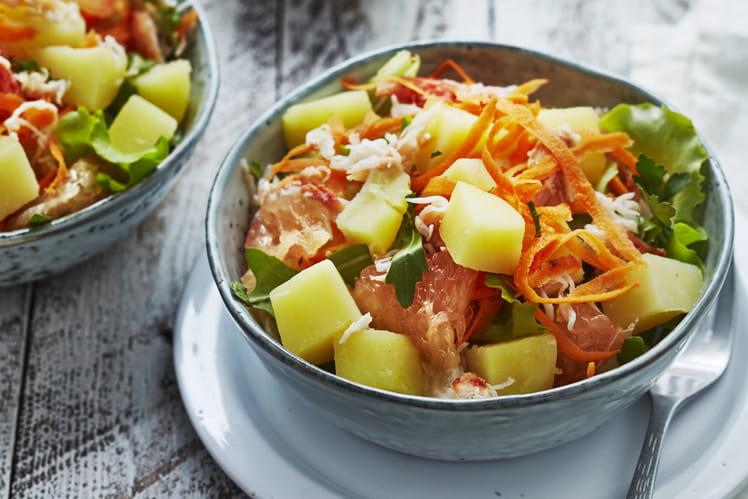Salade de pommes de terre primeurs, crabe, pamplemousse, carotte, persil