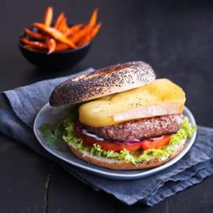 burger suisse au raclette du valais, frites de patates douces