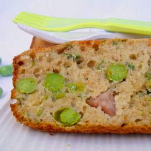 cake aux petits pois et pignons de pin