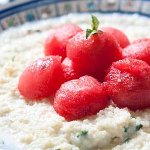 semoule au lait fermenté et à la pastèque