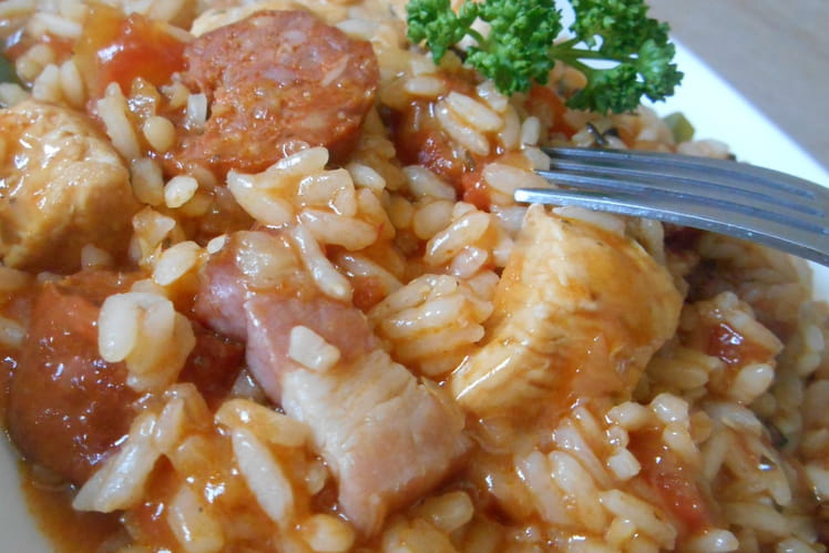 Jambalaya au poulet et chorizo