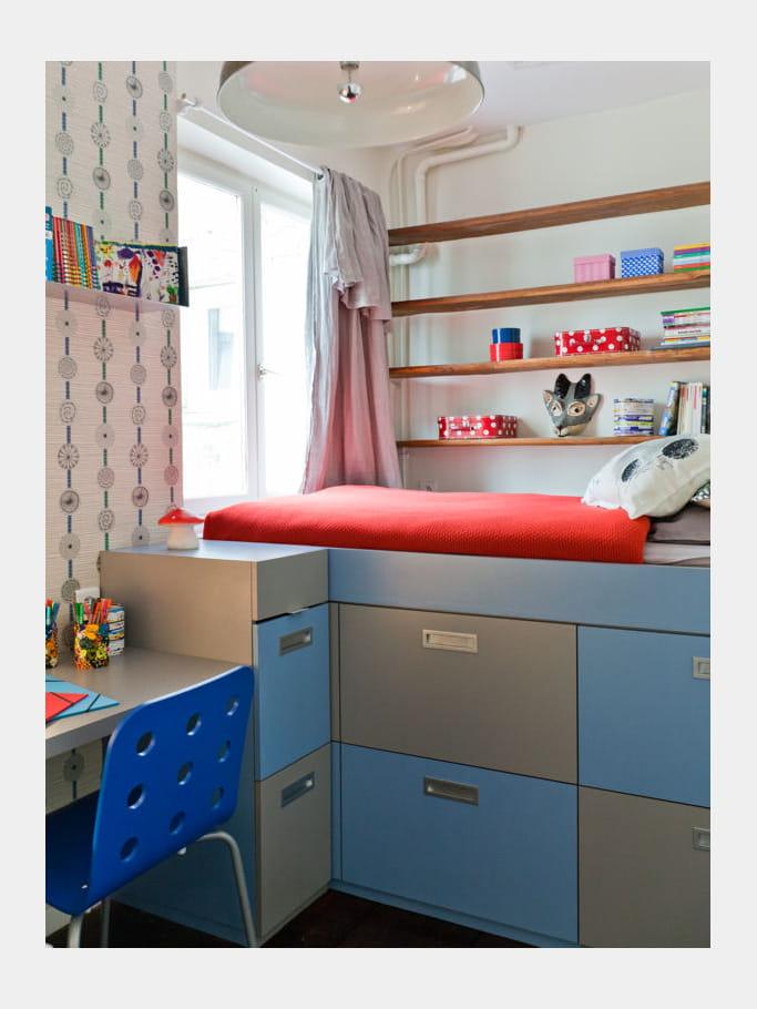 mini chambre maxi rangement id es d co pour chambres d 39 enfant croquer journal des femmes. Black Bedroom Furniture Sets. Home Design Ideas