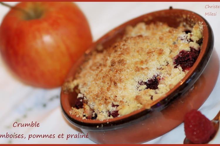 Crumble framboises pommes praliné