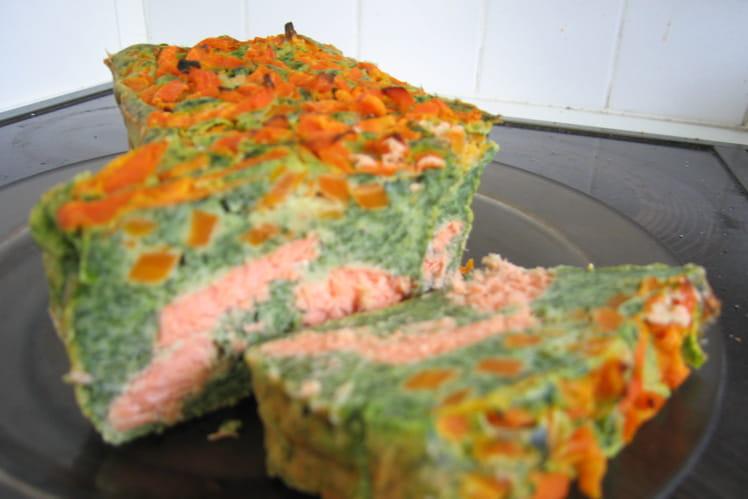 Cake au saumon, épinards et carottes