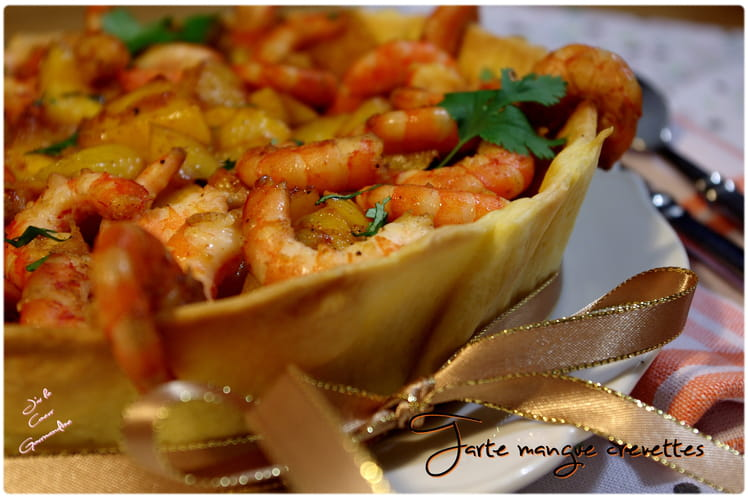 Tarte à la mangue et aux crevettes