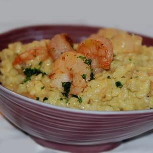 risotto aux crevettes et curry