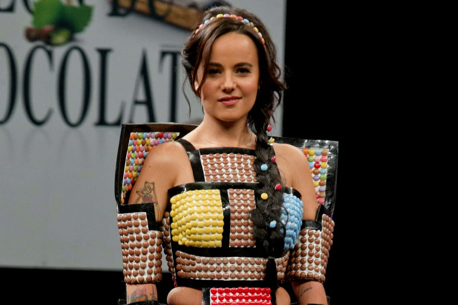 Le look people du jour : Alizée dans sa robe Smarties au Salon du Chocolat 2015