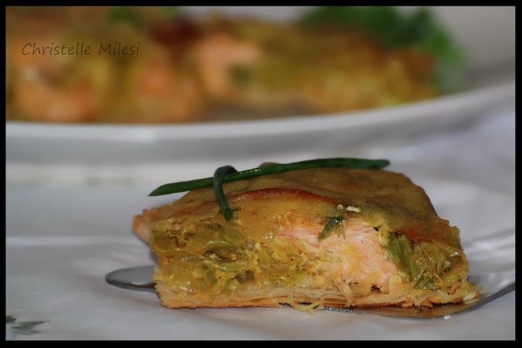 Croustillant de saumon et poireaux au curry