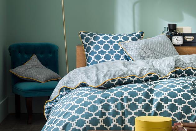 Parure de lit Faience bleu prusse Camif