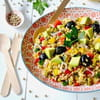 taboule aux petits pois poivrons tomates olives noires et avocat