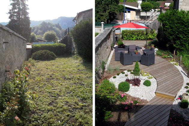 Un sentier terrasse dans un jardin de ville - Amenager un petit jardin de ville ...