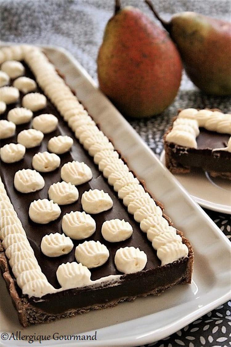 Recette Charlotte Au Chocolat Sans Oeuf tarte végétalienne à la gelée de poires, chocolat, chantilly, bio, sans  gluten, sans oeufs et sans