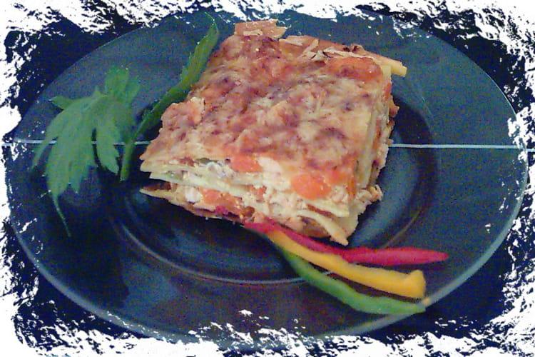 Lasagnes au saumon et aux poivrons
