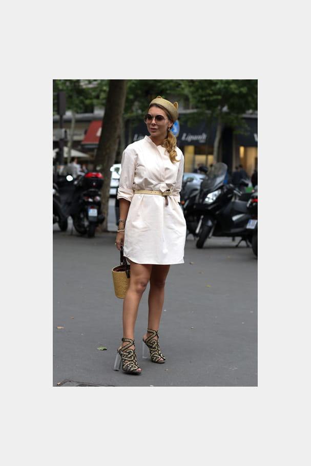Street looks fashion week haute couture : félin
