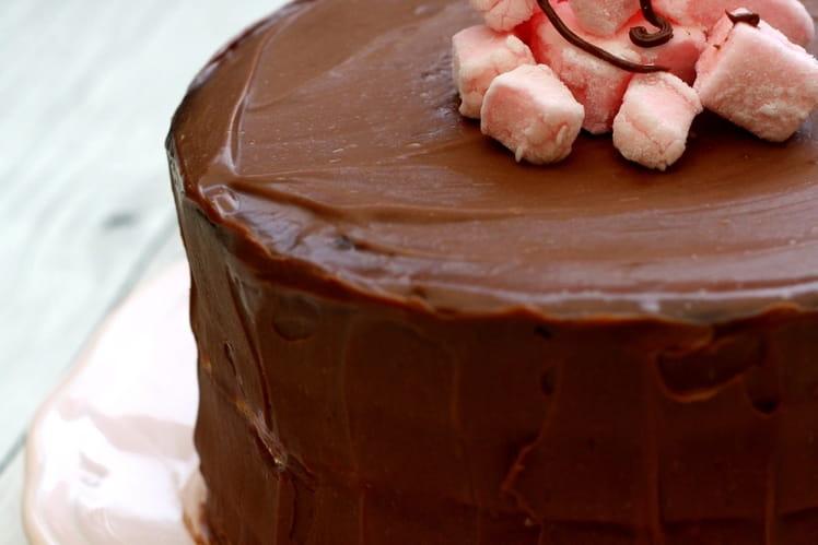 Gâteau de fête au chocolat et guimauve à la fraise