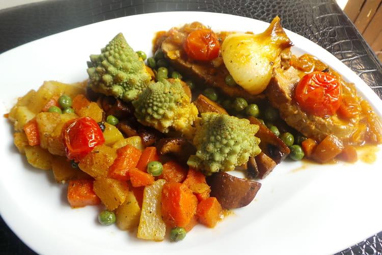 Filet mignon de veau au chou romanesco et ses légumes printaniers