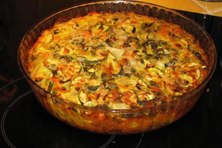 Recette de tarte aux courgettes sans p te la recette - Recette facile a faire sans four ...
