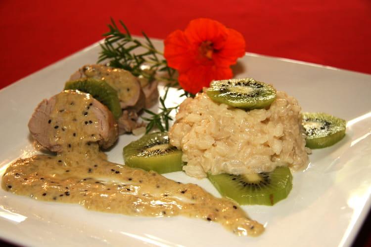 Mignon de porc aux kiwis et son risotto