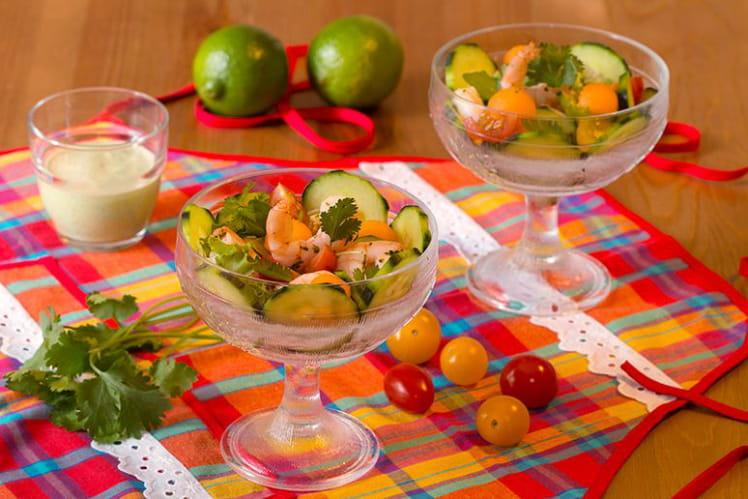 Salade aux crevettes parfumées à la coriandre
