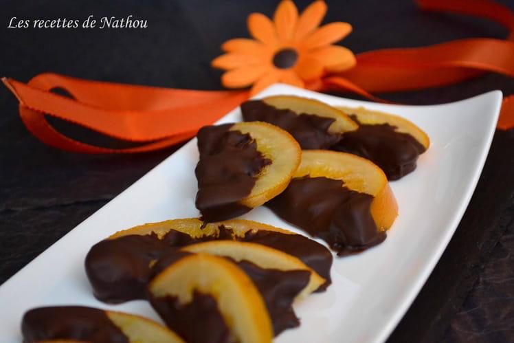 Oranges confites au chocolat noir
