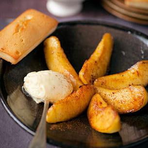 pommes rôties, financier et crème diplomate