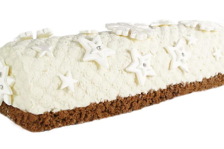 Bûche de Noël chocolat blanc, spéculoos, coco