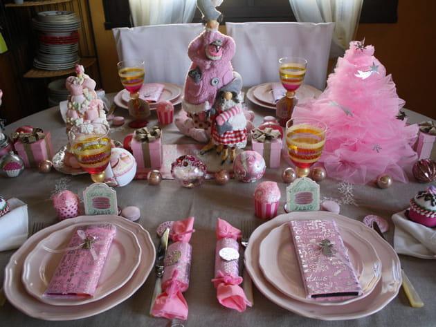 Table de Noël rose danseuse