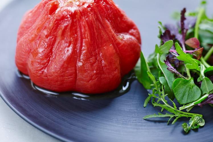 Tomate côtelée confite au citron vert