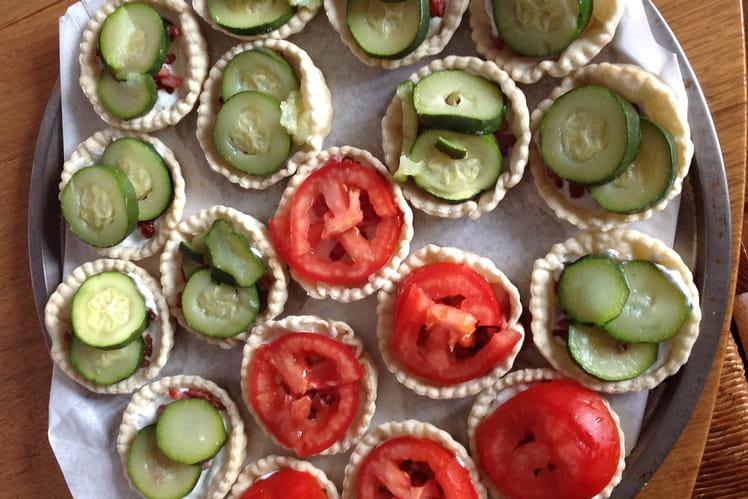 Tartelettes courgettes, tomates et St Agur