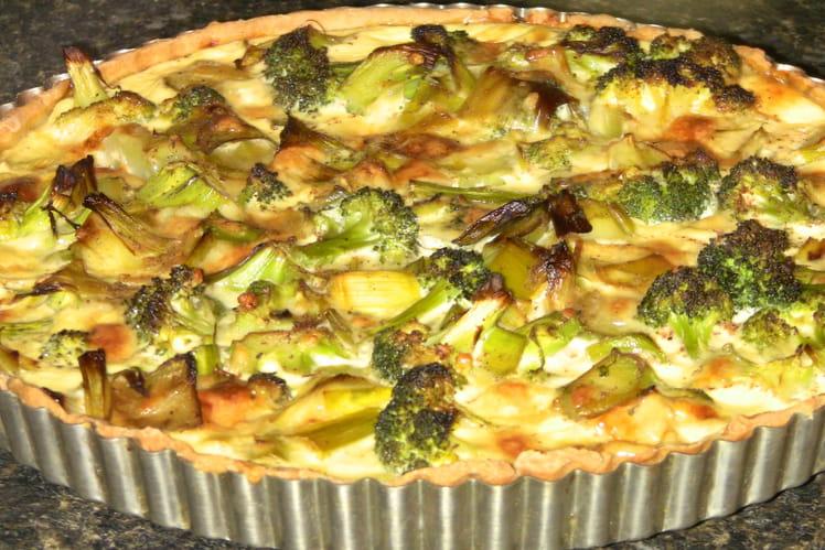 Tarte aux poireaux et brocolis