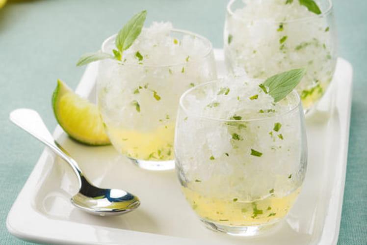 Granité au citron, citron vert et basilic