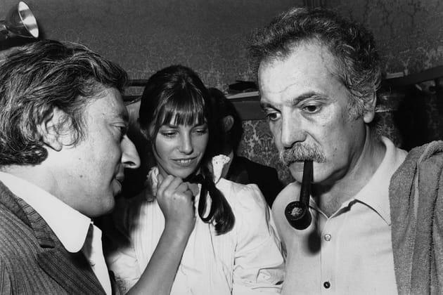 Avec Serge Gainsbourg et Georges Brassens après un concert, en 1973