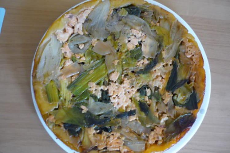 Tatin d'endives, poireaux, saumon caramélisée au chèvre