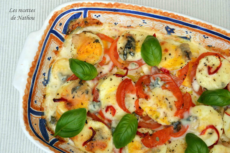 Gratin de tomates aux oeufs durs, mozzarella et gorgonzola