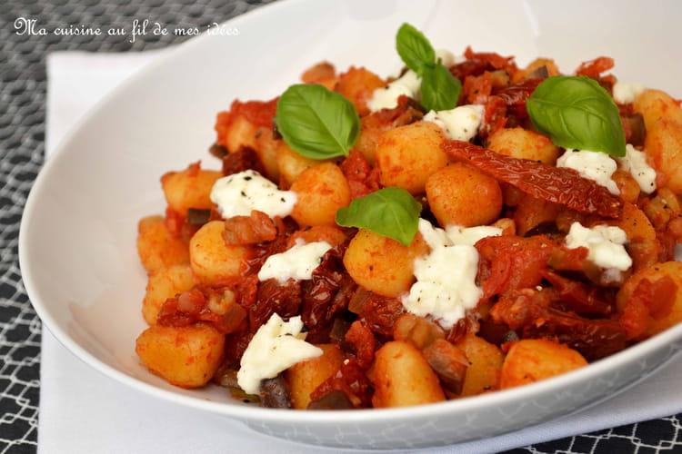 Gnocchi aux aubergines, tomates séchées et mozzarella di buffala