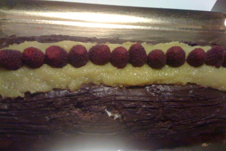 Bûche chocolat, mangue et framboise