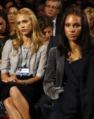 les stars sont fans de barak obama : ici alicia keys et jessica alaba