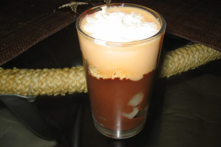 Verrine poire-chocolat-praliné
