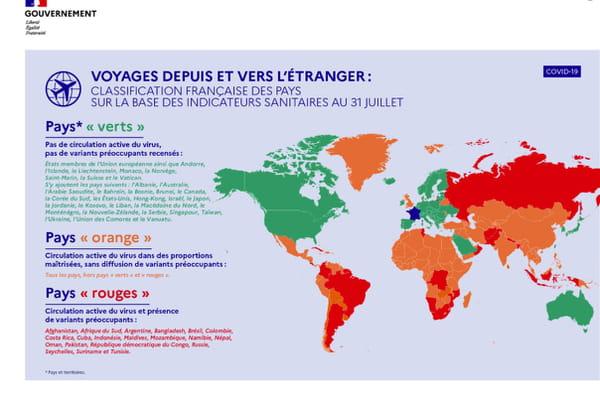 Carte des pays en rouge, vert et orange juillet 2021