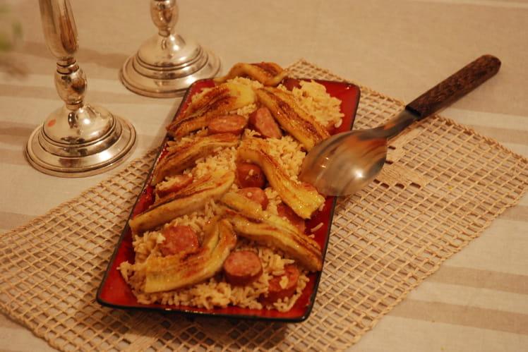 Arroz com linguica (risotto brésilien)