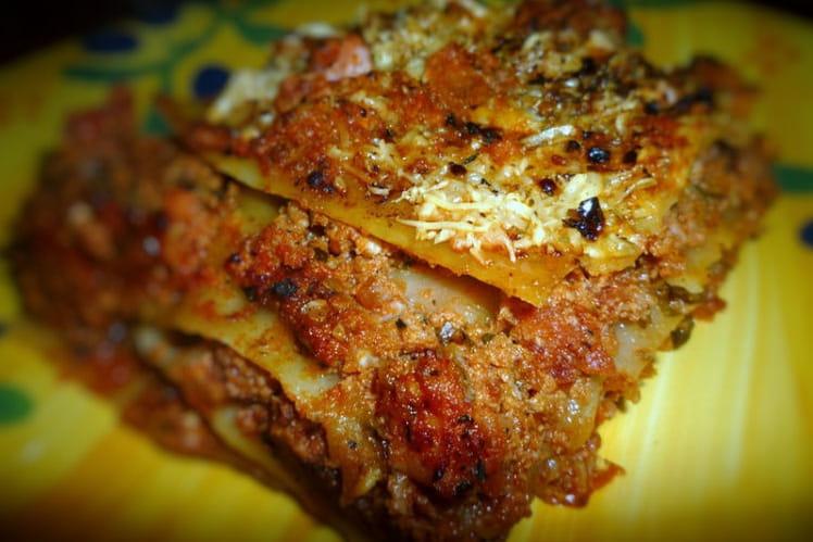 Lasagnes maison à la bolognaise et au jambon