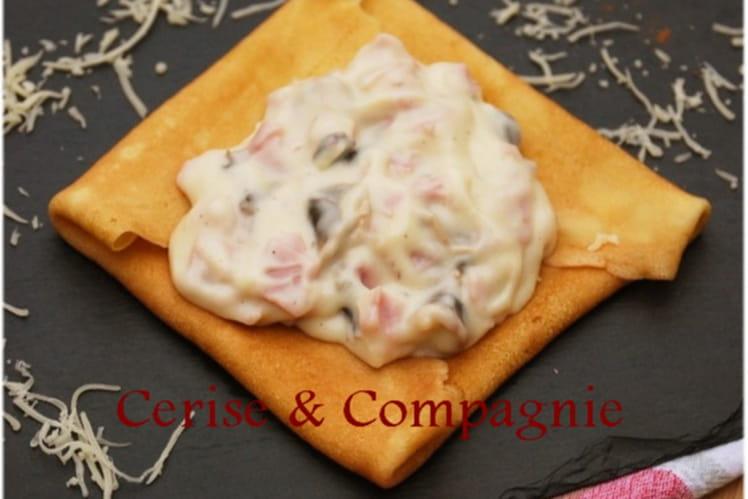 Crêpes à la béchamel, jambon, champignon et comté