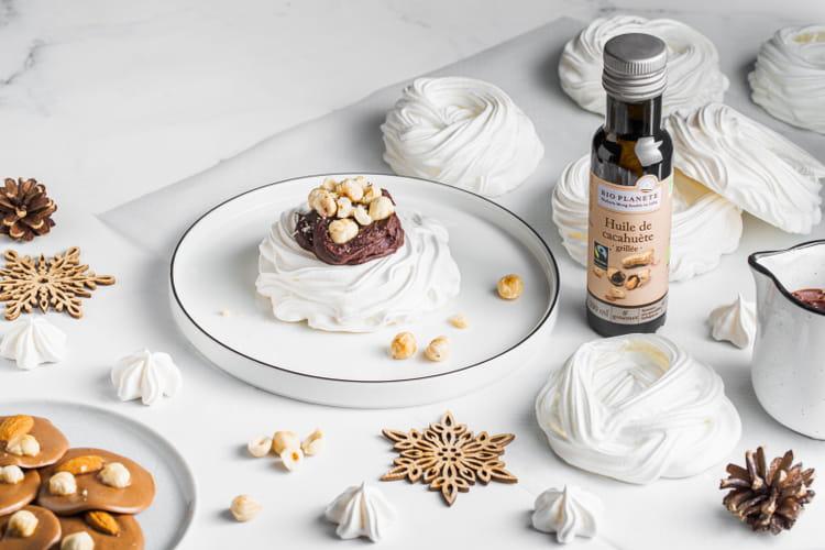 Pavlova chocolat noisettes grillées à l'huile de cacahuète grillée par Bio Planète